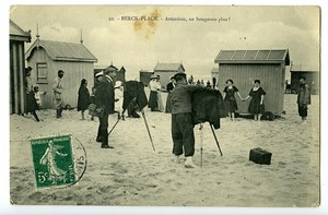 France Berck Plage Beach Huts Postcard Photographers at Work 1900
