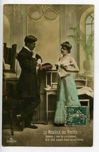 France Carte Postale Photo le Modele du Photographe Fantaisie Erotique 1900