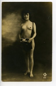 France Real Photo Postcard Nude Woman Photographer Camera 1925