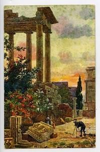 Italie Rome Temple de Saturne Carte Postale Photographe dans les Ruines 1900