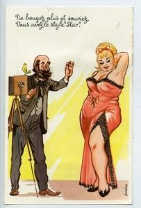 France Carte Postale Fantaisie Photographe et Modele bien en chair 1950