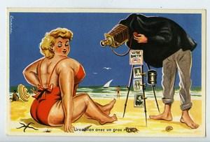 France Carte Postale Humoristique Photographe a la Plage Erreirac 1950