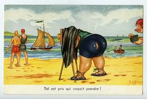 France Carte Postale Humoristique Photographe a la Plage Raffray 1950
