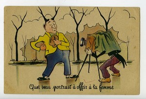 France Humoristic Postcard Photographer & Model 1920