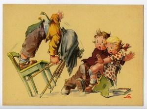 France Carte Postale Humoristique Enfants Photographe Casse cou 1930
