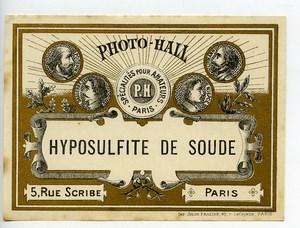France Etiquette Hyposulfite de Soude Produits Photographique Photo Hall 1880