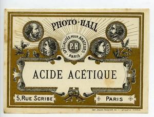 France Etiquette Acide Acetique Produits Photographique Photo Hall 1880