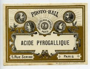France Etiquette Acide Pyrogallique Produits Photographique Photo Hall 1880