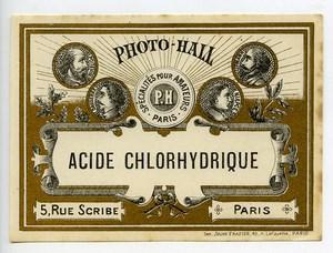 France Paris Photographic Product Hydrochloric acid Label Photo Hall 1880