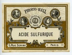 France Paris Photographic Product Sulfuric acid Label Photo Hall 1880