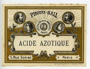 France Paris Photographic Product Nitric acid Label Photo Hall 1880