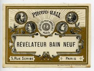 France Etiquette Revelateur Bain Neuf Produits Photographique Photo Hall 1880