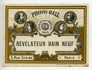 France Paris Photographic Product Developer Label Photo Hall 1880