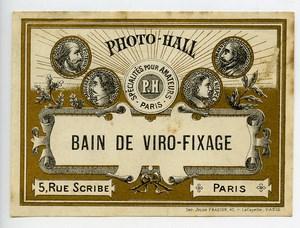 France Paris Photographic Product Bain de Viro-Fixage Label Photo Hall 1880