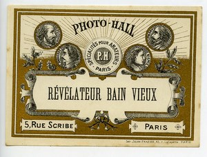 France Paris Photographic Product Developer Label Photo Hall 1880