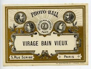 France Etiquette Virage Bain Vieux Produits Photographique Photo Hall 1880