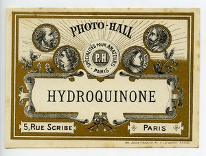France Paris Photographic Product Hydroquinone Label Photo Hall 1880