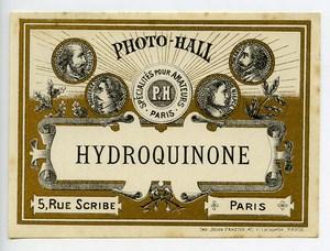 France Etiquette Hydroquinone Produits Photographique Photo Hall 1880