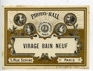 France Etiquette Virage Bain Neuf Produits Photographique Photo Hall 1880