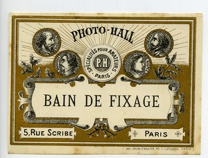 France Paris Photographic Product Fixer Label Photo Hall 1880