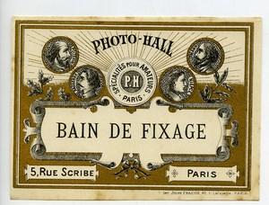 France Etiquette Bain de Fixage Produits Photographique Photo Hall 1880