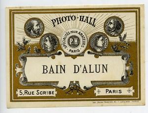 France Paris Photographic Product Bain d'Alun Alum Label Photo Hall 1880