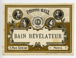 France Paris Photographic Product Label Photo Hall 1880