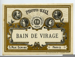 France Paris Photographic Product Print Toning Label Photo Hall 1880