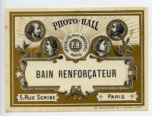 France Etiquette Bain Renforcateur Produits Photographique Photo Hall 1880
