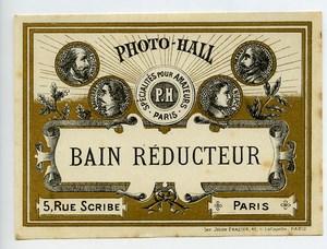 France Etiquette Bain Reducteur Produits Photographique Photo Hall 1880