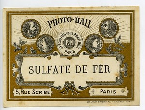 France Paris Photographic Product Iron Sulfate Label Photo Hall 1880