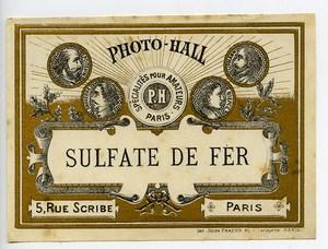 France Etiquette Sulfate de Fer Produits Photographique Photo Hall 1880