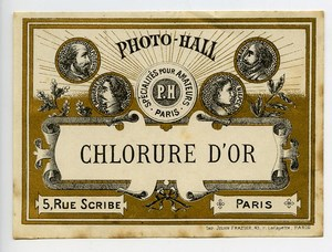 France Paris Photographic Product Gold Chloride Label Photo Hall 1880