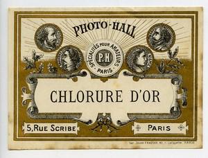 France Etiquette Chlorure d'Or Produits Photographique Photo Hall 1880
