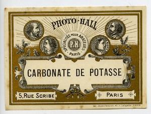 France Etiquette Carbonate de Potasse Produits Photographique Photo Hall 1880