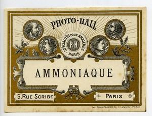 France Etiquette Ammoniaque Produits Photographique Photo Hall 1880
