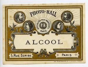 France Paris Photographic Product Alcohol Label Photo Hall 1880