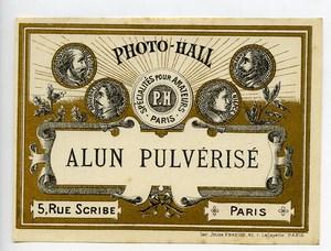 France Etiquette Alun Pulverise Produits Photographique Photo Hall 1880