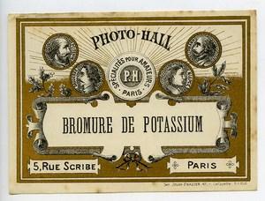 France Etiquette Bromure de Potassium Produits Photographique Photo Hall 1880
