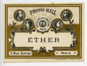 France Etiquette Ether Produits Photographique Photo Hall 1880