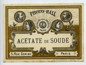 France Etiquette Acétate de soude Produits Photographique Photo Hall 1880
