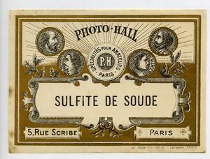 France Etiquette Sulfite de Soude Produits Photographique Photo Hall 1880
