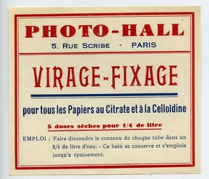 France Paris Photographic Product Toning Fixer Label Photo Hall 1880