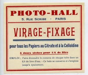 France Etiquette Virage-Fixage Produits Photographique Photo Hall 1880