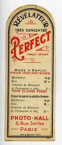 France Paris Photographic Product Perfect Developer Label Photo Hall 1880
