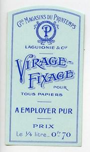 Etiquette Virage-Fixage Laguionie Produits Photographique Photo Le Printemps 1880