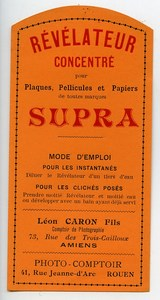 France Photographic Product Concentrated Developer Supra Label Photo 1900