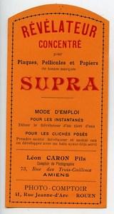 Etiquette Revelateur Concentre Supra Produits Photographique Photo 1900
