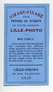 France Lille Photographic Product Toning Fixer Citrate Label Lille Photo 1900