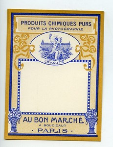 France Paris Photographic Chemical Product Label Photo Au Bon Marché 1900